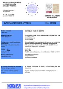 EUROPEAN TECHNICAL APPROVAL (ETA 06/0062) bilayer