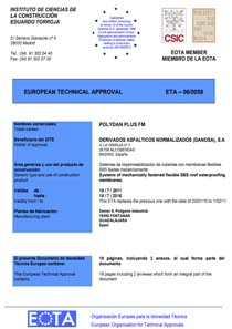 EUROPEAN TECHNICAL APPROVAL (ETA 06/0058)